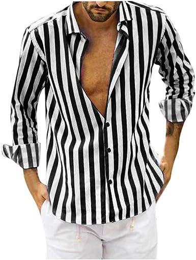 LEEDY - Camisa de manga larga con bolsillo para hombre, ajuste ceñido, estilo informal, con rayas, ajustado, de manga larga, con botones
