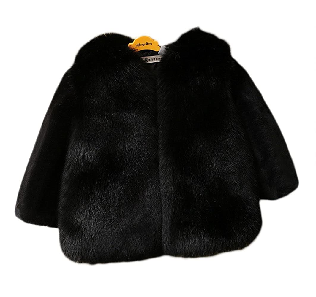 LIVEINU Girls Faux Fox Fur Coat Toddler Winter Thicken Warm Jacket Coats