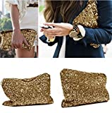 Women Metallic All Over Gold Sequins High Shine Bling Cosmetic Bag