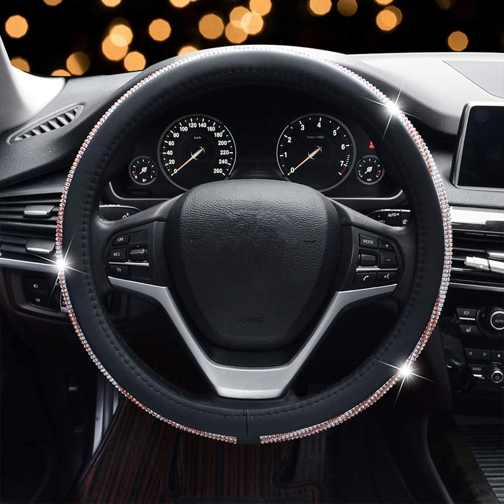 Steering Wheel Cover for Women Red Sliver Bling Crystal Diamond Rhinestone Black Leather Car Steering Wheel Cover for New Girl Universal 15 inch