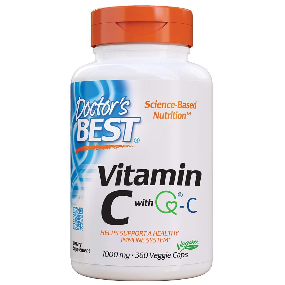 Doctor's Best Vitamin C with Quali-C 1000 mg, Non-GMO, Vegan, Gluten Free, Soy Free, Sourced from Scotland, 360 Veggie Caps by Doctor's Best