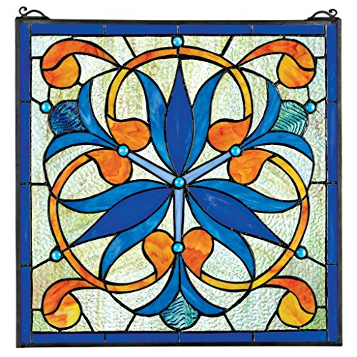 Stained Glass Panel - Mokara Orchid Trefoil Floral Stained Glass Window Hangings - Window Treatments (Stained Suncatcher Handcrafted Glass)
