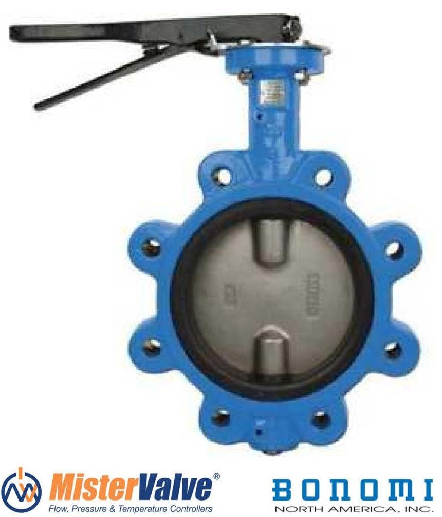 Bonomi N501S Lever operated butterfly valve EPDM seat, lug body St. Steel disc. (8'')