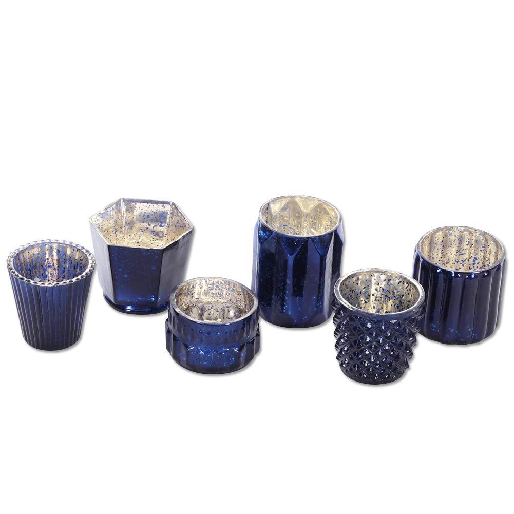 Assorted Modern Geometric Decor Quinceanera Koyal Wholesale Mixed Aqua Blue Diamond Blue Mercury Glass Candle Holders Bridal Shower 6-Pack Baby Shower Mismatched Candle Holders Candle Votives