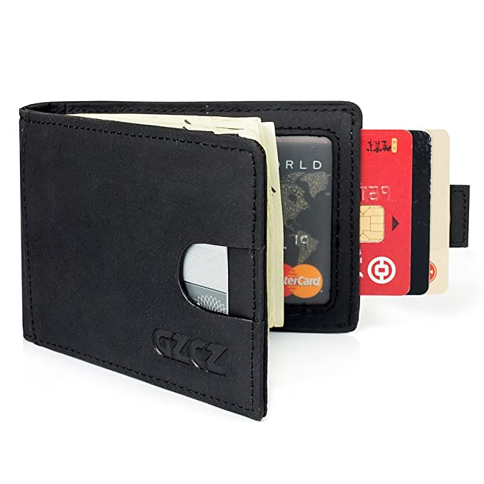 1a3d48a72183 GZCZ RFID Blocking Slim Bifold Genuine Leather Minimalist Front Pocket  Wallets for Men with Money Clip
