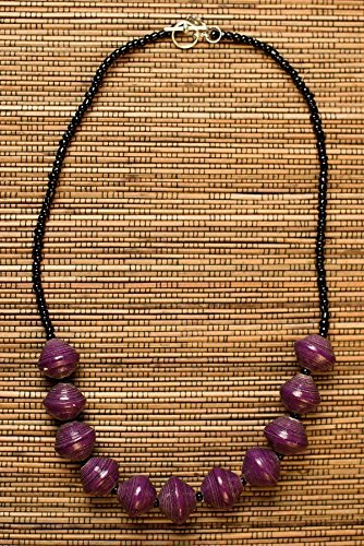 Paper Bead Chunky Asali Necklace – Purple – Fair Trade BeadforLife Jewelry from Africa