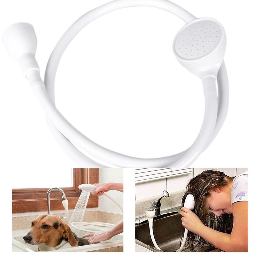 Iusun Faucet Shower Head Spray Drains Strainer Hose Sink Washing Hair Wash Shower Bath Shower (White 2)