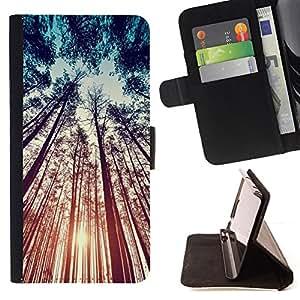 NATURE SUMMER SKY SUN FOREST RAY/ Personalizada del estilo del dise???¡Ào de la PU Caso de encargo del cuero del tir????n del soporte d - Cao - For Samsung Galaxy S5 V SM-G900