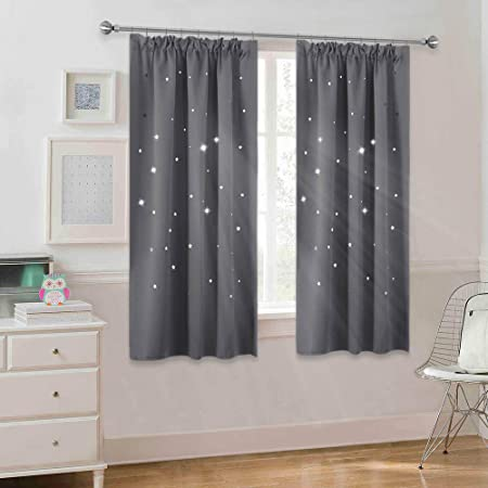 2 Pieces Pencil Pleat Light Blocking Grey x PONY DANCE Blackout Curtain Panels