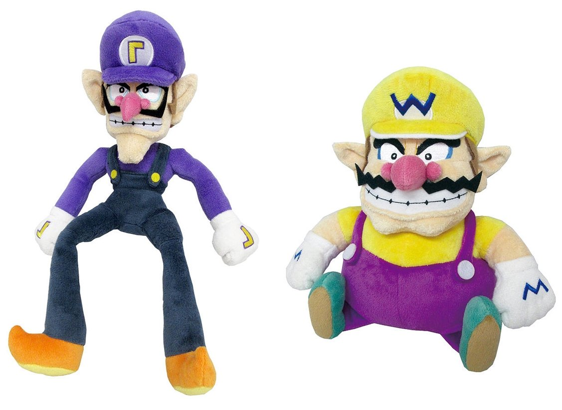 Little Buddy Set of 2 Super Mario All Star 1422 Waluigi & 1421 Wario Stuffed Plush Dolls by Little Buddy