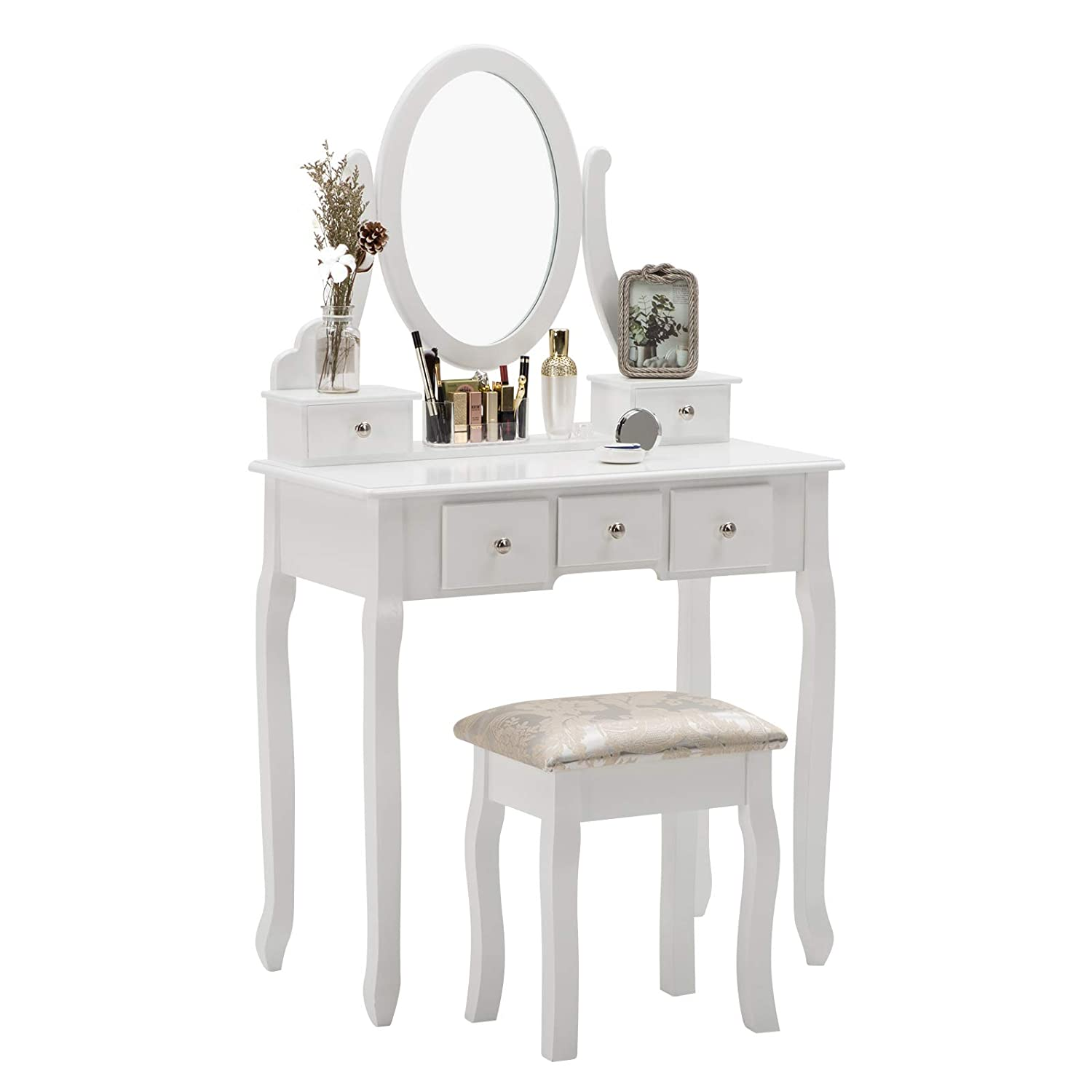 Vanity Sets, Unihome Vanity Table with Oval Mirror Dressing Desk w/Cushioned Stool Bedroom Makeup Table 5 Drawers White Makeup Vanity for Bedroom