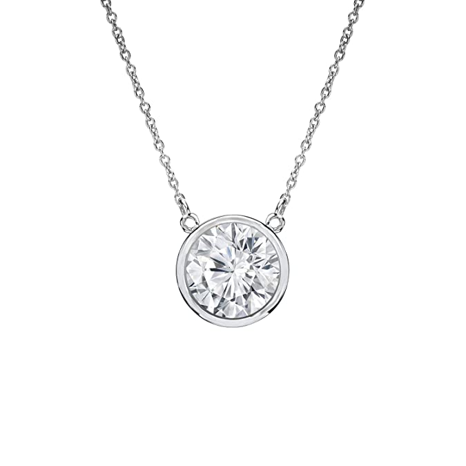 29893e33941d4 Diamond Wish 14k White Gold Round Solitaire Diamond Pendant Necklace  (1/5-1cttw, Good, I1-I2) Bezel-Set with 18-inch Cable Chain