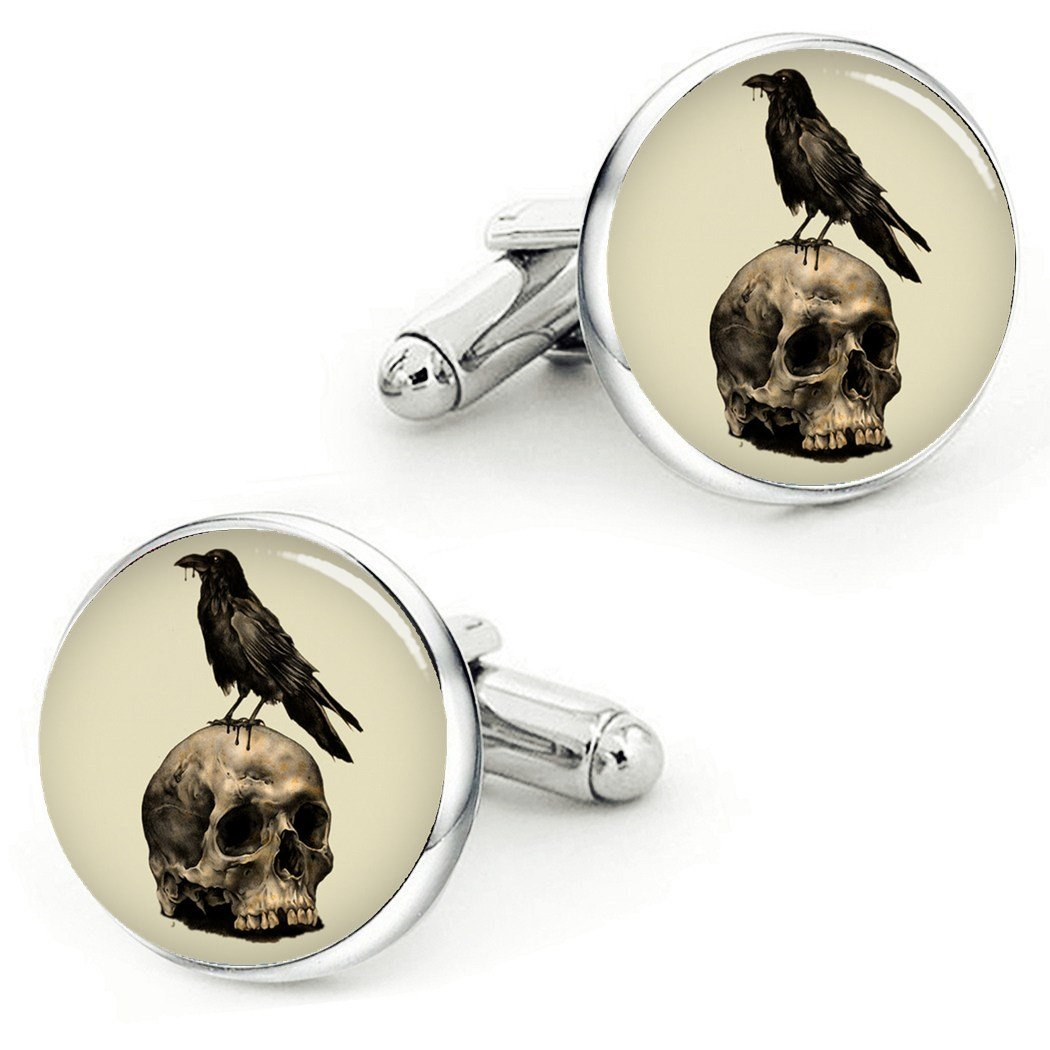 Kooer Vintage Skull Cufflinks Handmade Custom Personalized Skull Cuff Links Wedding Jewelry Gift (style 1)