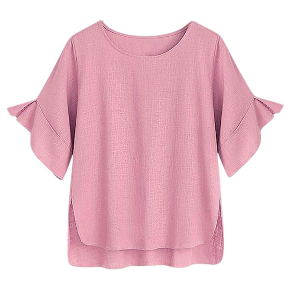 FEDULK Women Cotton Linen Tee Tops Flare Short Sleeve Solid Colour T-Shirt Blouse Plus Size XL-5XL