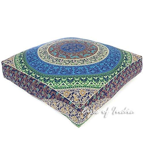 Eyes of India - 35'' Blue White Oversized Large Floor Pillow Cover Pouf Meditation Cushion Seating Mandala Square Hippie Colorful Decorative Indian Boho Dog Bed BohemianCover Only