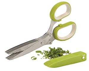 Joyoldelf Gourmet Herb Scissors - Master Culinary Multipurpose Kitchen Scissors 5 Blades Stainless Steel with Clean Comb Cover