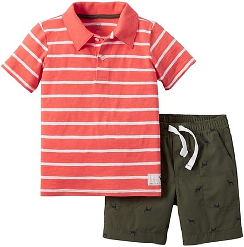 Carters Just One You Baby Boys 2 Piece Dog Short Set Orange//Olive