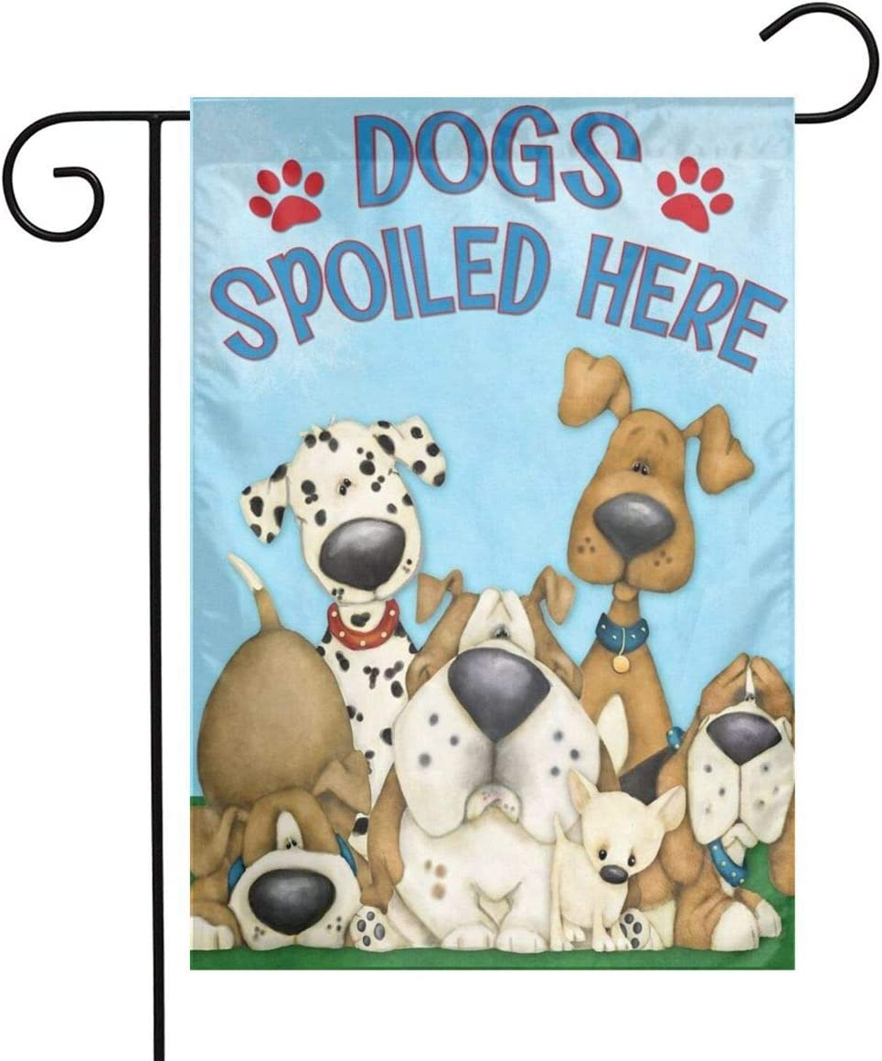SUMILUOCHEN Double-Sided Outdoor Garden Flag, Welcome Spoiled Dog Yard Flag, Weather Resistant Home Decorative Colorful Design Primitive Yard Decor for Patio Lawn 12 x 18 in (Welcome Spoiled Dog)
