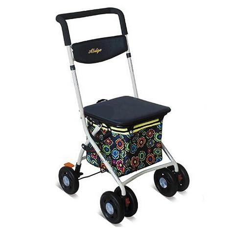 Andador de hierro Walker plegable carrito 6 ruedas – Andador (con asiento y cesta