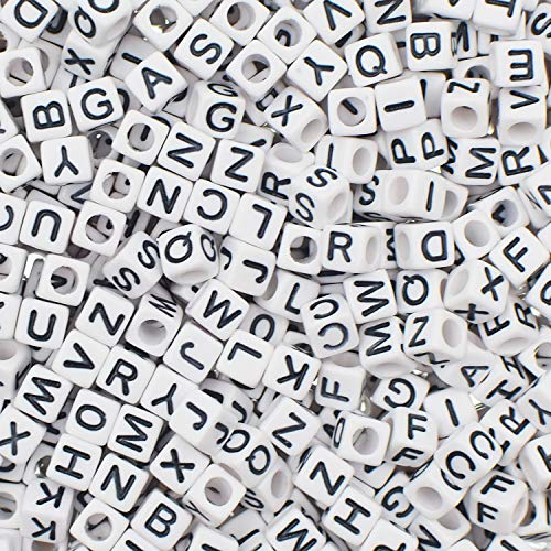 1000 Pieces 6mm White Acrylic Alphabet Letter A-Z Cube Beads for Jewelry Making, Bracelets, Necklaces, Key Chains and Kids Jewelry with 1 Roll Elastic Crystal String Cord