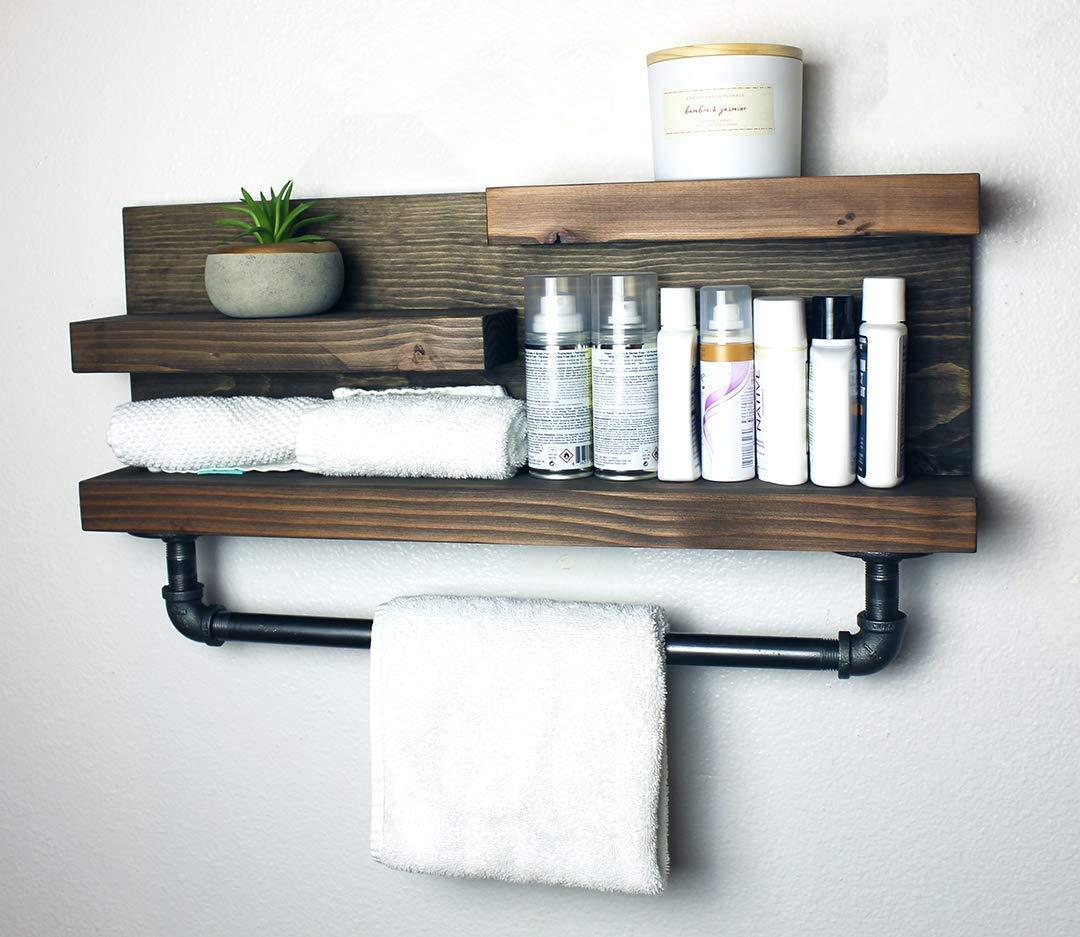 Amazon Com Bathroom Shelf With Industrial Farmhouse Towel Bar