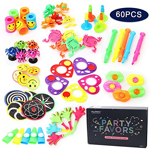 Amy&Benton 60PCS Pinata Filler Toy Assortment for Kids, Carnival Prizes for Boys and Girls, Birthday Party Favor Toys and Prizes for Parents, Treasure Box / Chest Toy Prizes for Classroom Teachers
