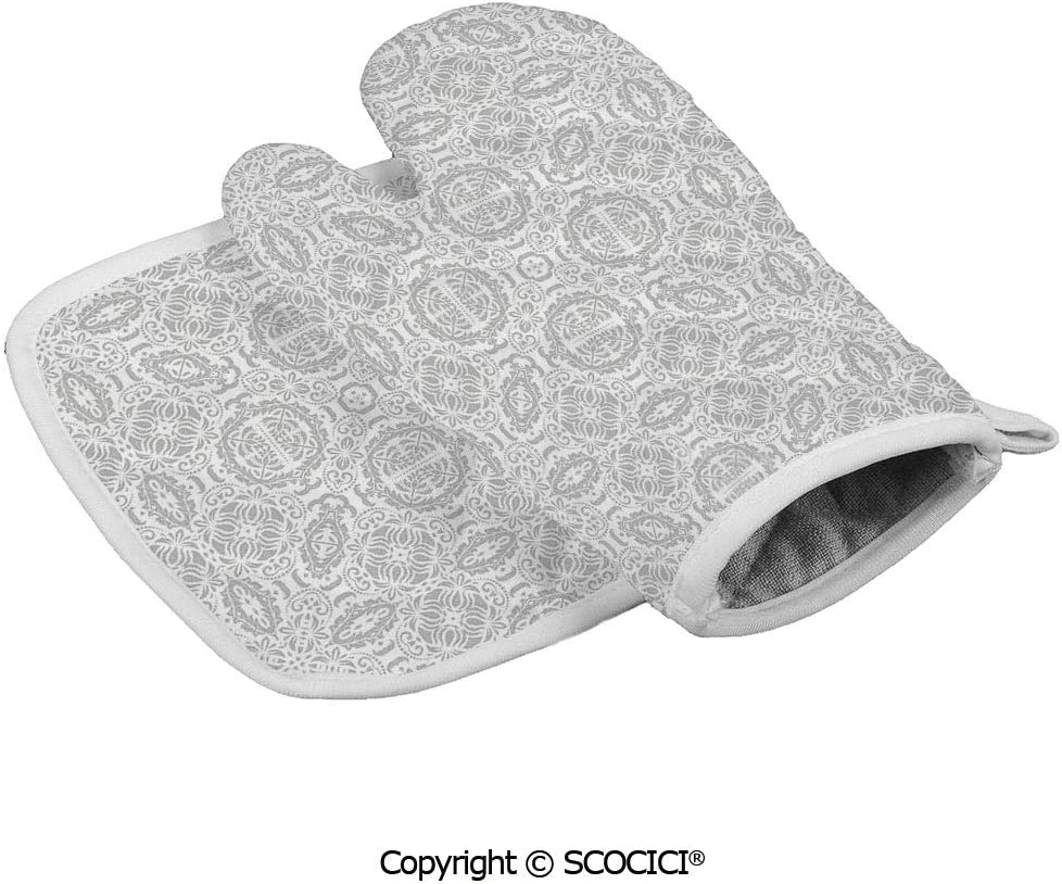 SCOCICI Durable Oven Glove Lace Victorian Damask Antique Baroque Design with Oriental Effects Renaissance Heat Resistant Kitchen Insulated Glove + Insulated Square Mat Insulated Glove Combination
