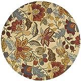 Safavieh Jardin Collection JAR952A Handmade Beige and Multi Premium Wool Round Area Rug (6′ Diameter)