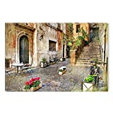 Startonight Canvas Wall Art Italian City Decor, Dual View Surprise Artwork Modern Framed Ready to Hang Wall Art 100% Original Art Painting 23.62 X 35.43 inch