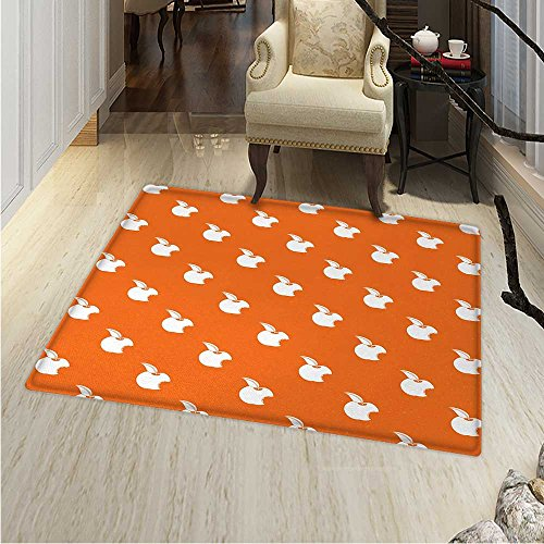 Apple Customize Floor mats for home Mat Bitten Fruit Pattern on Abstract Orange Background Vitamin Source Nutritious Apple Oriental Floor and Carpets 36