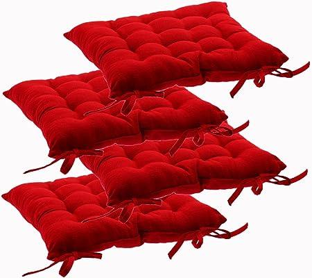 Set di 4 cuscini per sedie, con laccetti 38 x 38 cm