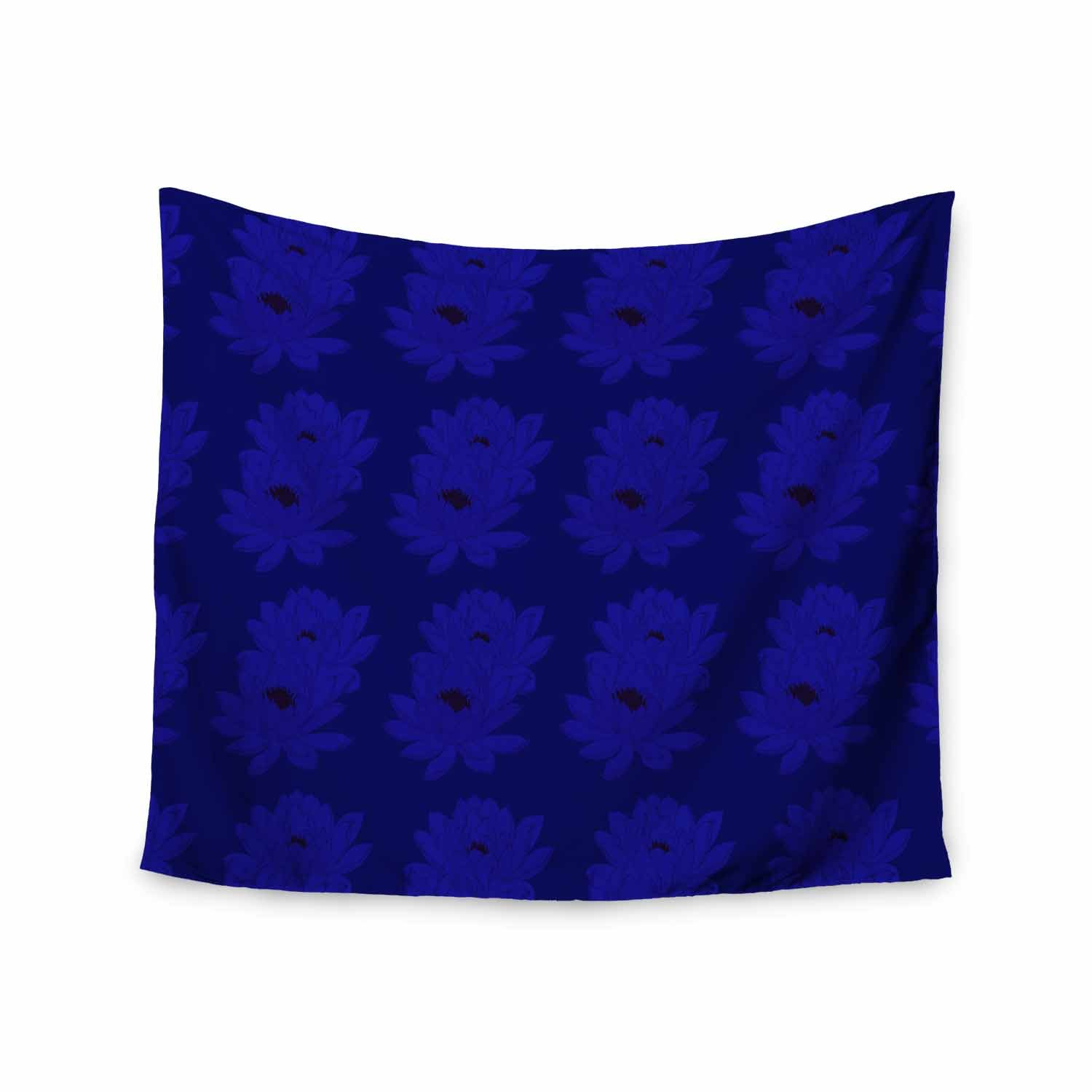 Kess InHouse Stephanie Eden Water Lilies-Night Blue Brown Floral Nature Painting Illustration Wall Tapestry
