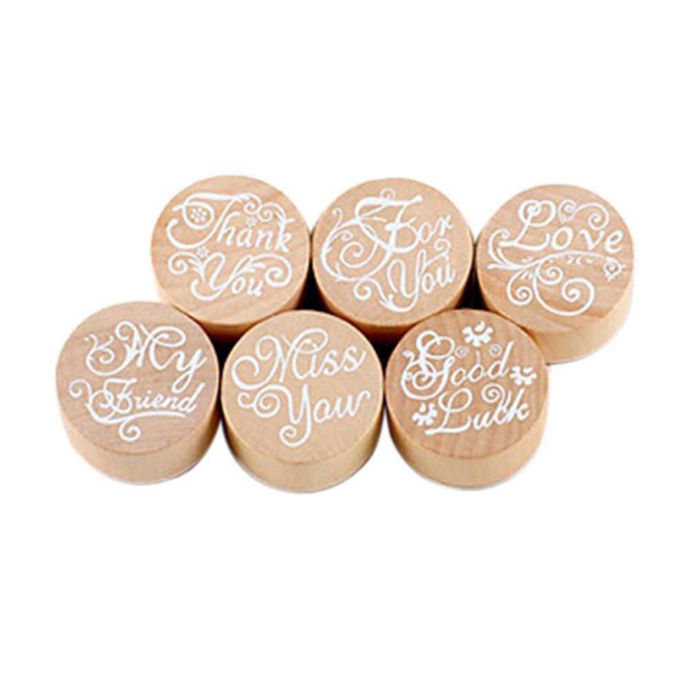 PIXNOR-Confezione da 6 timbri in legno e gomma, motivo floreale, scrivibili DIY Craft-Timbro in legno, colori assortiti