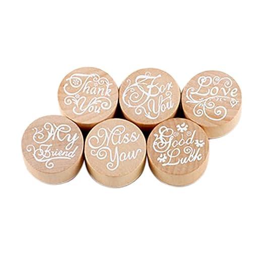 6 opinioni per Pixnor 6 timbri in gomma in legno, motivo floreale, con scritte (versione