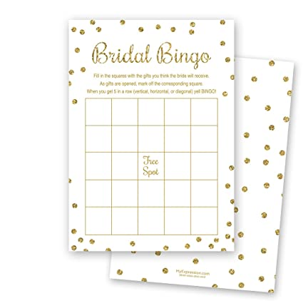 24 cnt bridal shower bingo cards faux gold glitter on white