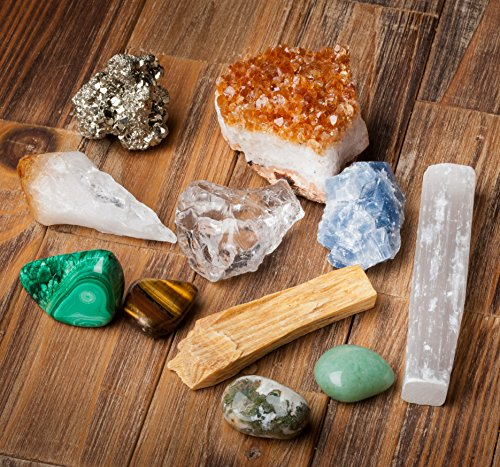 Genuine Crystals Abundance Prosperity / 11 pc Crystal Healing Set - Tumbled Stones + Citrine, Pyrite, Blue Calcite, Quartz + Spiritual Cleansing Tools + Informational Booklet/Gift Ready
