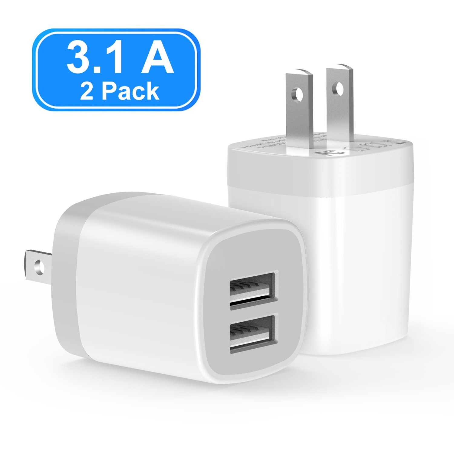 USB Wall Charger, Vogek 3.1A 2-Pack Dual Port USB Wall Charger Universal Power Adapter Compatible with Samsung Galaxy, LG, HTC, Huawei, Moto, Kindle, MP3, Bluetooth Speaker Headset-White