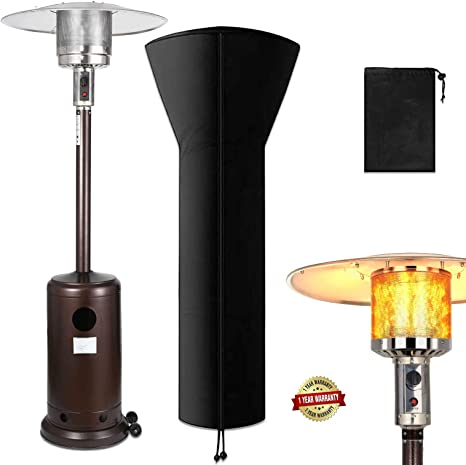 Raoccuy Outdoor Propane Powered Patio Heater With Cover Modern Commercial Thermal Heaters 48000 Btu Stainless Steel Floor Tall Standing With Wheels For Garden Champagne Kitchen Dining