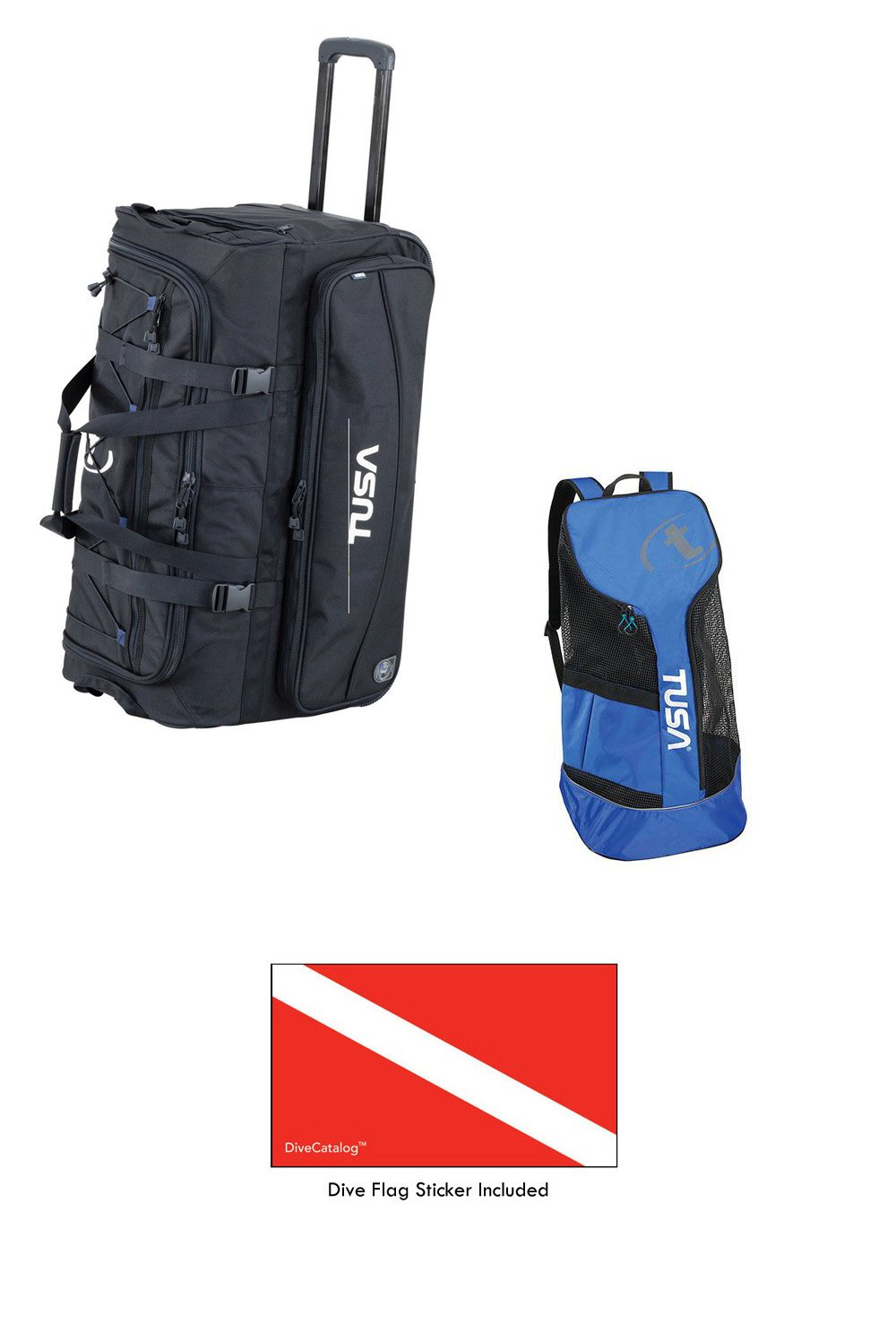 TUSA Dive Gear Roller Duffle Bag in Black w Mesh Backpack Cobalt Blue CBL & DiveCatalog's Sticker