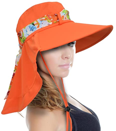 1e767062 Tirrinia Women Wide Brim Adjustable Sun Hat for Safari Beach Hiking Camping  Orange