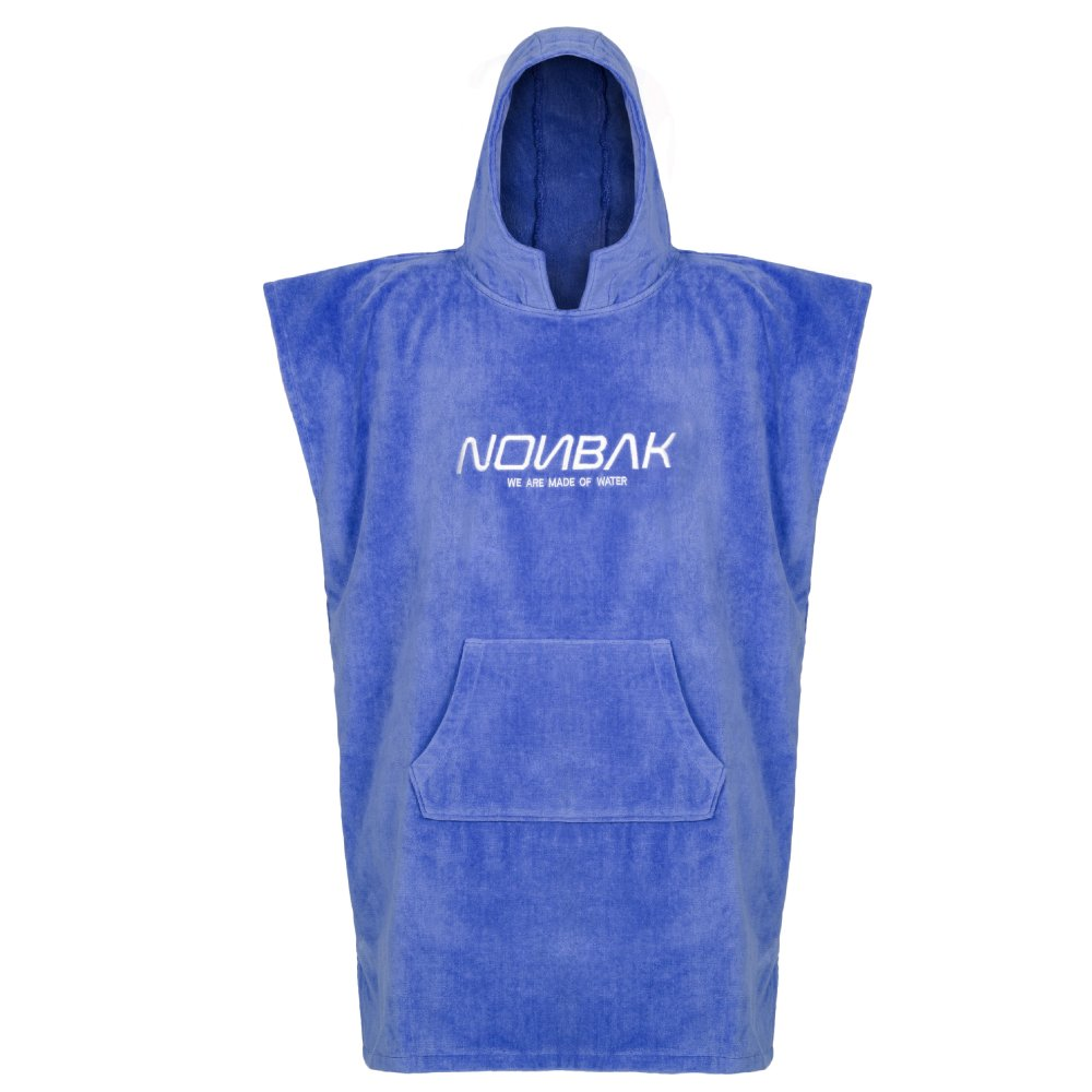 Nonbak Swim Secure - Poncho con cappuccio e tasca per sport acquatici, colore: blu, 400 g/m²