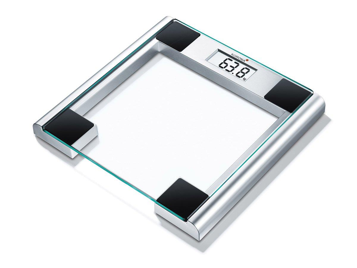 Korona Caroline Báscula de baño de cristal escala hasta 180 kg, intervalos en gramos 100, transparente y plateado: Amazon.es: Salud y cuidado personal