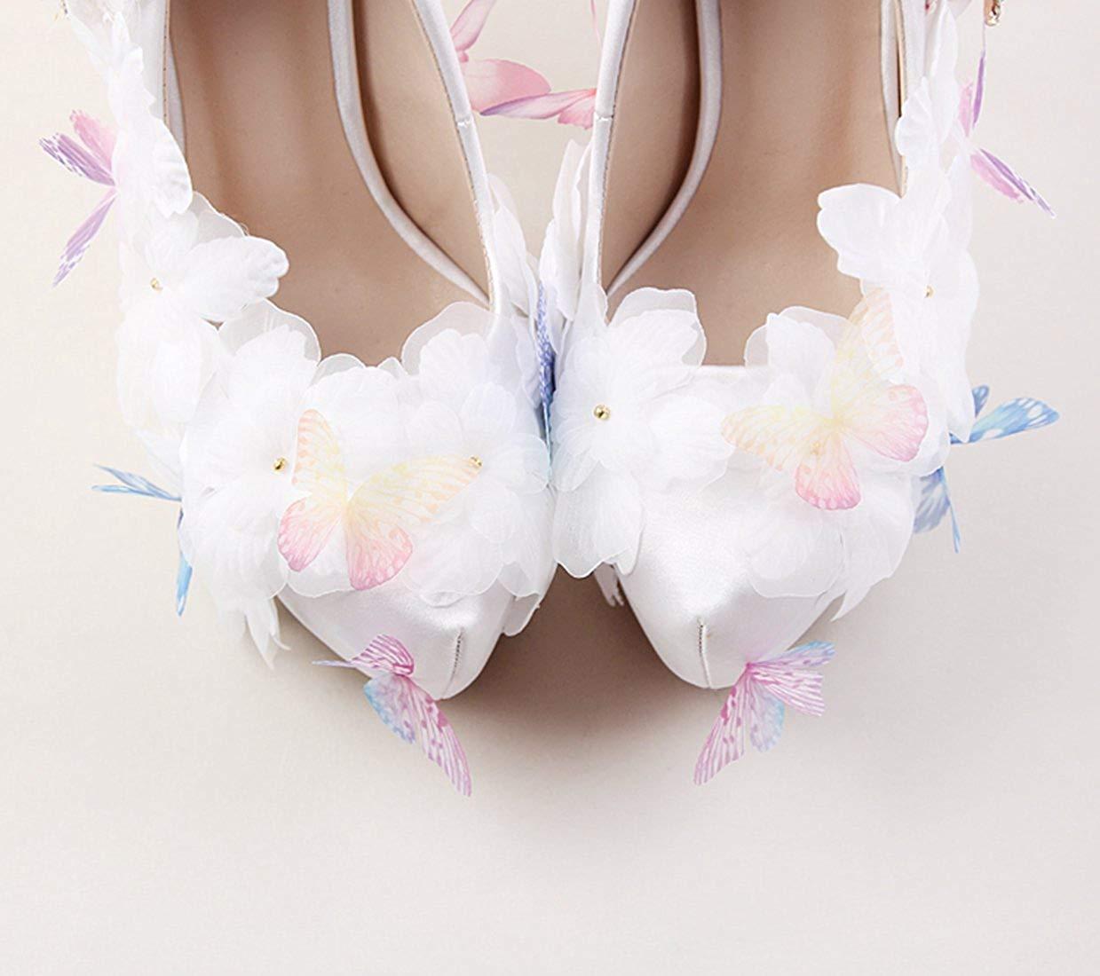 Qiusa Damen Luxuriöse Applique Platform Weiß Satin Satin Satin Braut Hochzeit Slip-on Schuhe UK 6 (Farbe   - Größe   -) 2396df
