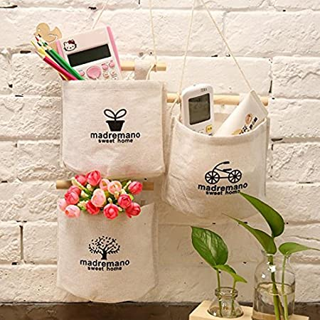 13.5cm 15 Toruiwa 1/x Hanging Storage Bag semplice lavabile in lino tessuto Storage Pouch Pocket Wall Door Closet Hanging Organizer per casa e ufficio 15 A 13.5/cm