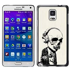 Samsung Galaxy Note 4 , Headphones Street Style Skull Skeleton - Cáscara Funda Case Caso De Plástico