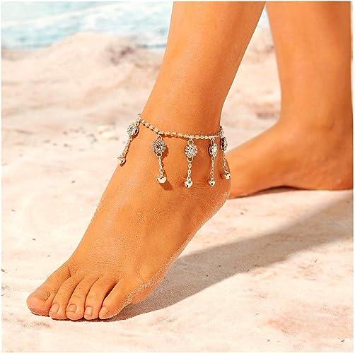 Women Vintage Silver Tree of Life Link Chain Barefoot Anklets Ankle Bracelet
