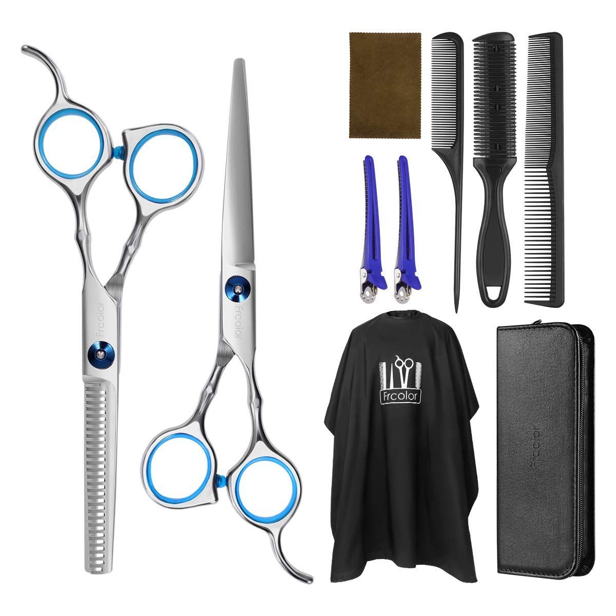 Frcolor Hair Cutting Scissors Hairdressing Thinning Shears Kit with Barber Cape Hair Thinning Cutting Combs and Black Case,Professional Upgraded Haircut Set by FRCOLOR