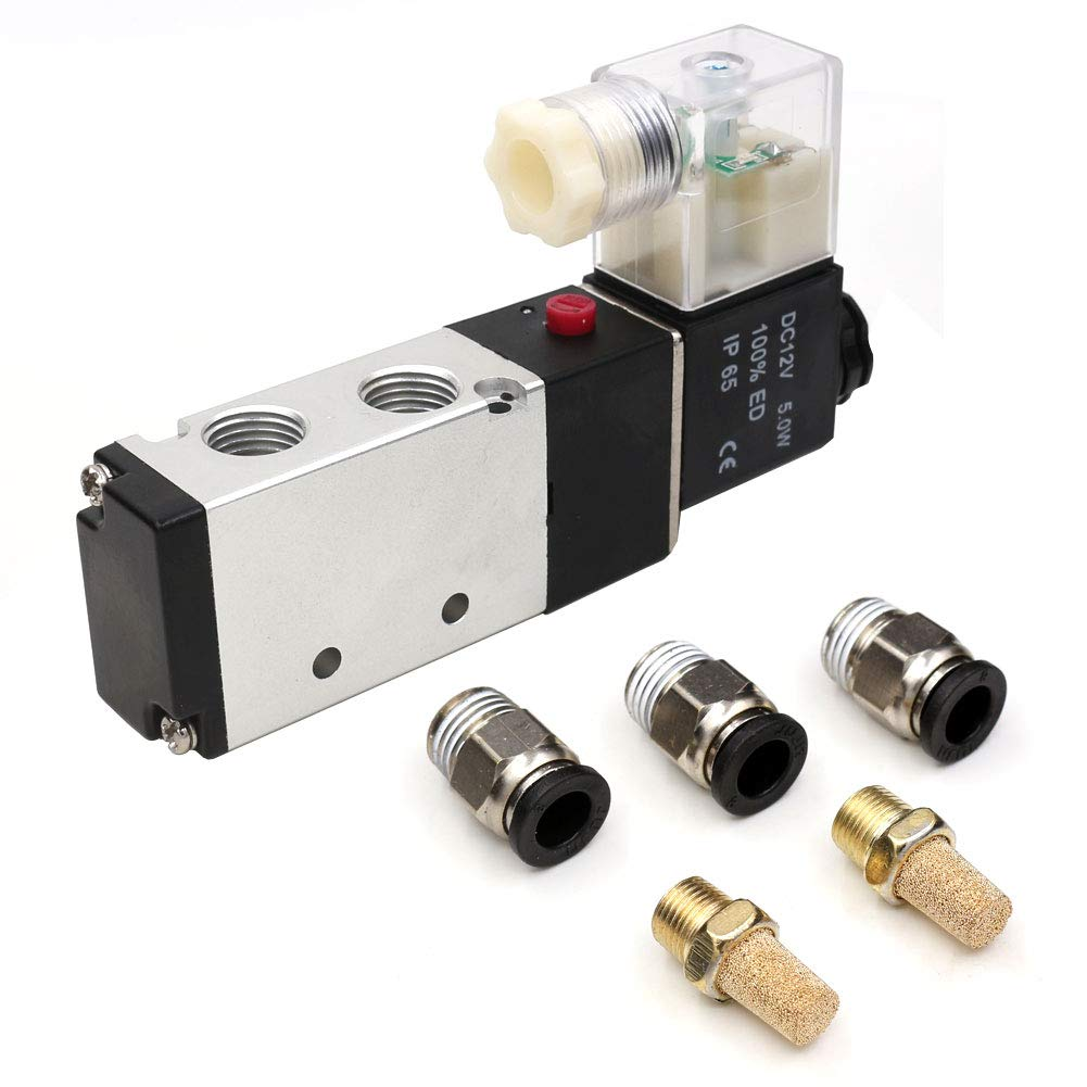1//4 PT Solenoid Valve Air Control Valve,CEKER 4V210-08 DC12V Single Coil Pneumatic Electric Control Pilot-Operated 2 Position 5 Way