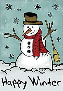 Morigins Happy Snowman Primitive Winter Yard Flag Double Sided Decorative Let it Snow House Flag 28x40 Inch