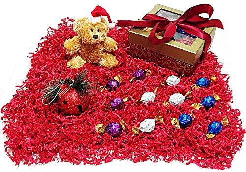 Christmas Teddy Bear Holiday Gift Box - Godiva Gourmet Chocolate Truffles, Plush Stuffed Animal & Sparkly Jingle Bell Tree Ornament